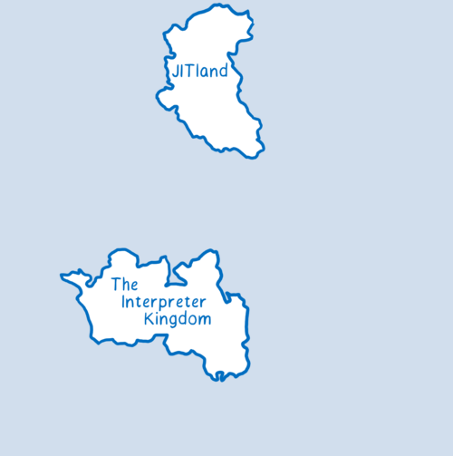 A game map with two continents—One with a country called The Interpreter Kingdom, and the other with a country called JITland