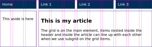 A layout with grid lines overlaid