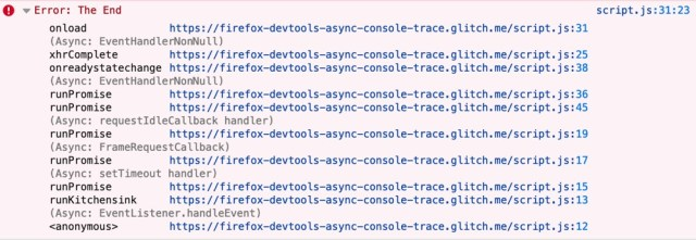 an asynchronous callstack being shown in the javascript console
