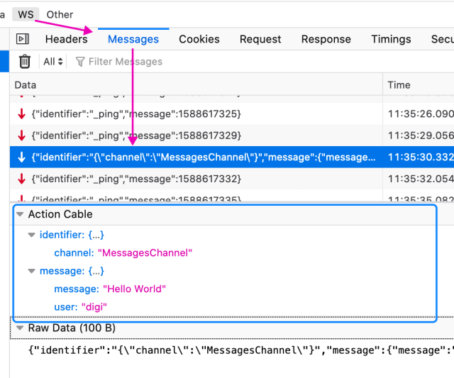 action cable websocket message formatting in devtools