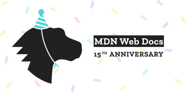 image of a party dino, celebrating 15 years