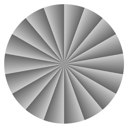 repeating conic gradient that continually goes from dark gray to light gray