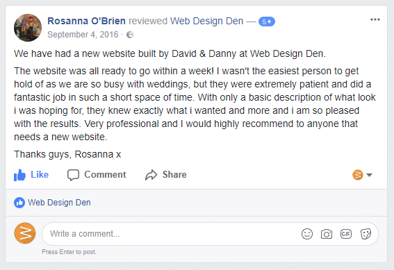 Facebook Review Wish Upon A Venue Dresser