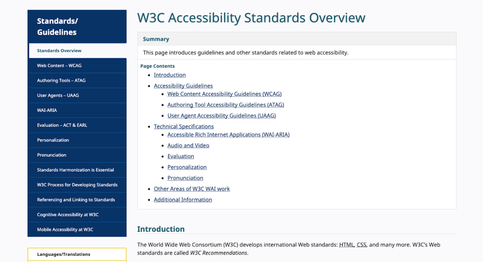 W3C Accessibility Standards