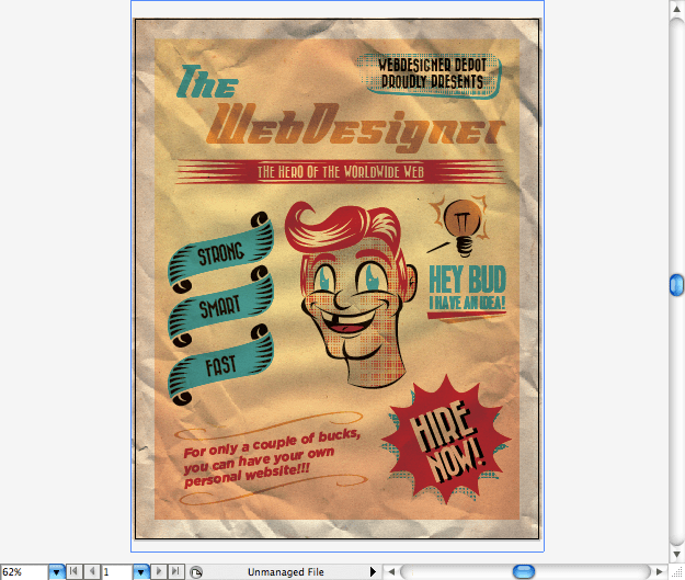 create a 50 s ad poster in illustrator
