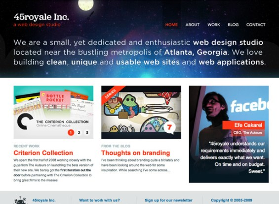 45royale 50 giao diện đẹp của website doanh nghiệp