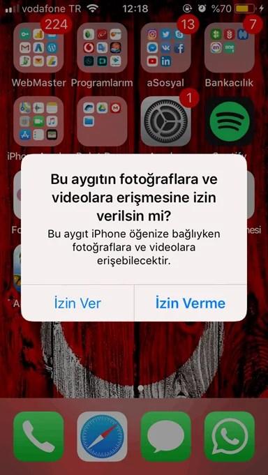 iphone'dan bilgisayara fotoğraf atma