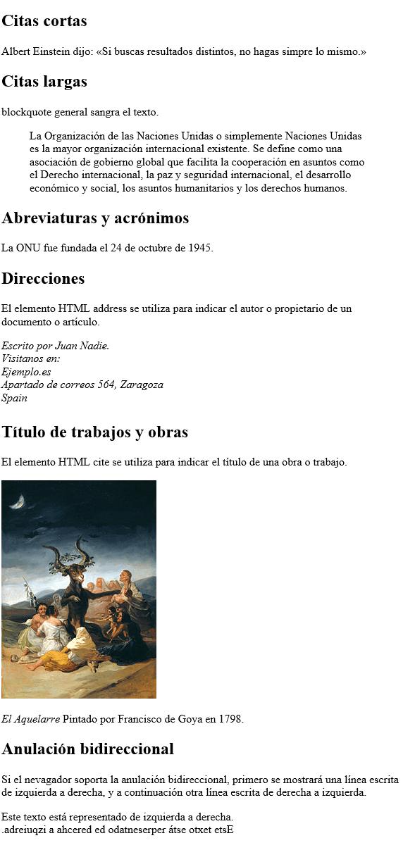 Código de ejemplo: citas HTML