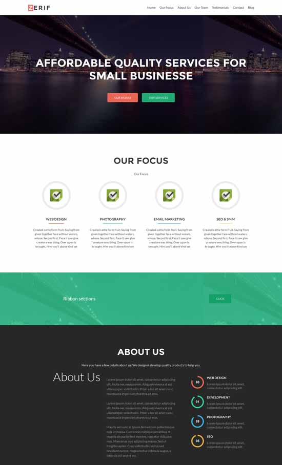 Zerif Lite - Tema WordPress de una página basado en Bootstrap