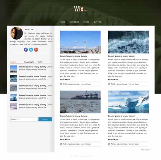 Wix - Tema Bootstrap gratuito para WordPress