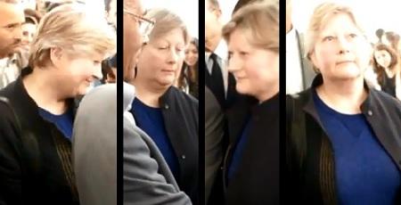 Mme Rhein accompagnant Marzouki lors d'une visite à la faculte de médecine de Sousse, 03-03-12