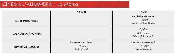 Programme au cinéma ALHambra à la Marsa