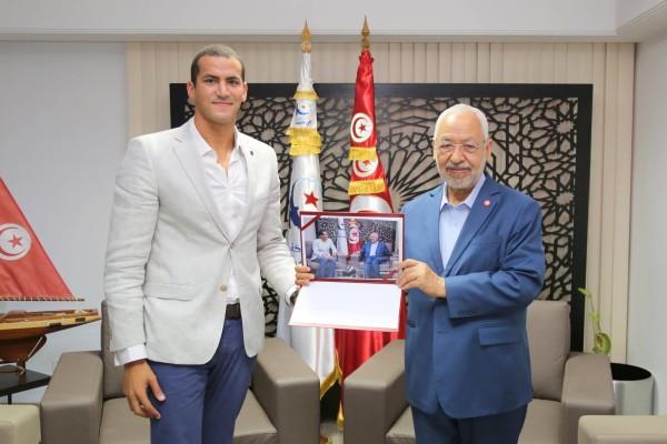 Oussama Mellouli accueilli par Rached Ghannouchi