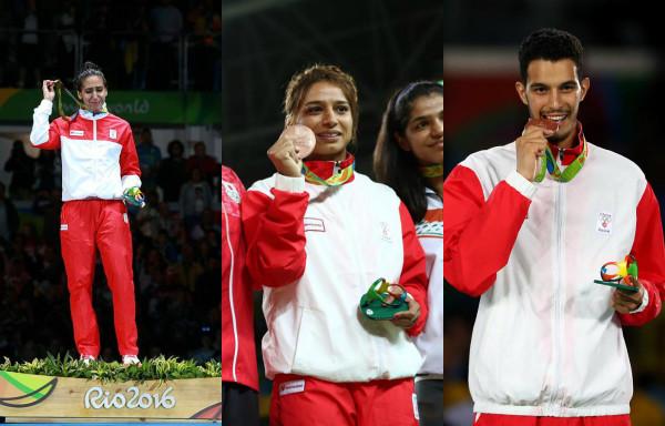 Ines Boubakri (Escrime), Marwa Amri (Lutte) et Oussama Oueslati (Taekwondo)