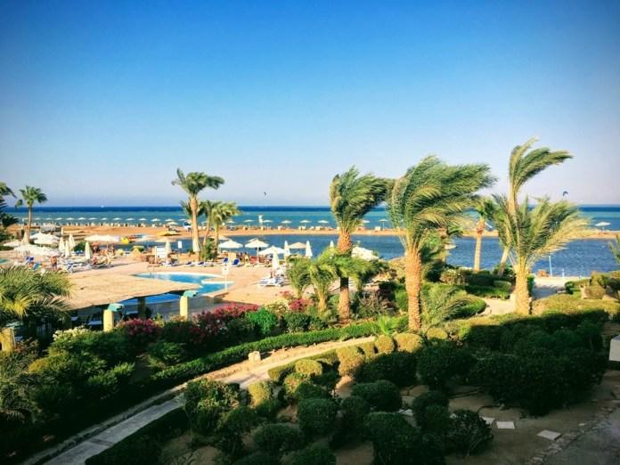 GFF 2019 - Vue sur la piscine, les palmiers et la mer.