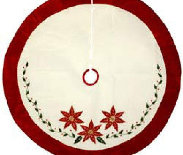 Poinsettia Christmas Tree Skirts With Red Border