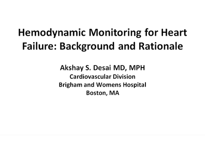 Hemodynamic Monitoring for Heart Failure Patients
