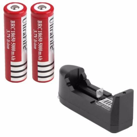 2 Baterias Brc 18650 Recargables + Cargador