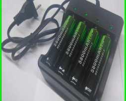 Cargador 4 Slots 18650. Litio Baterias Incluidas