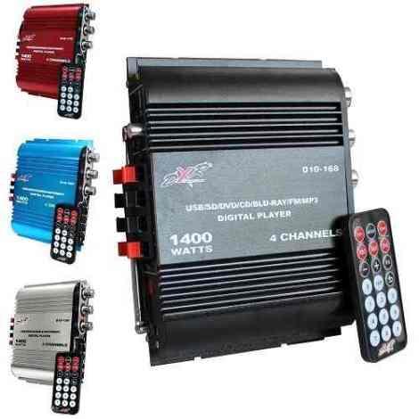 Amplificador Dxr 4 Canales 1400w Pmpo Radio Fm Y Usb en Web Electro