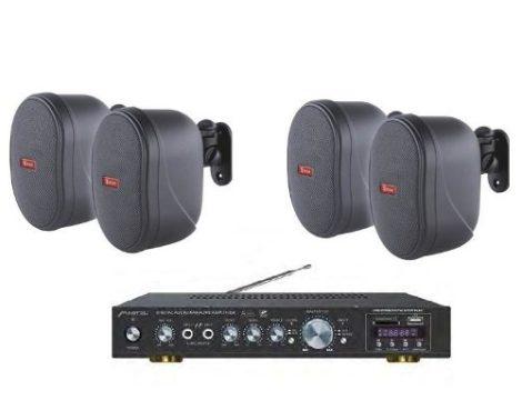 Amplificador Usb Sd Fm Mp3 Mas 4 Bafles Ambientales Bocinas en Web Electro