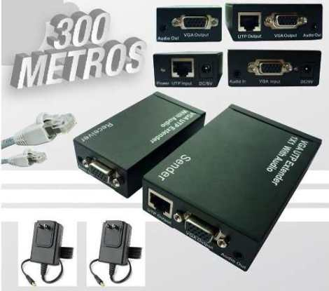 Kit Extensor Vga Y Audio Por Cable Utp Hasta 300 Metros