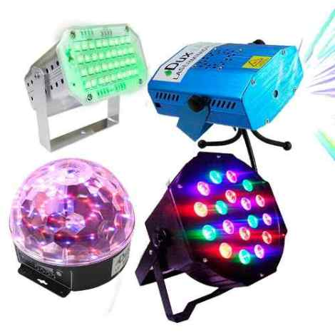 Kit Luces Disco Audio Rítmico Dj Bola Led Lasermini en Web Electro
