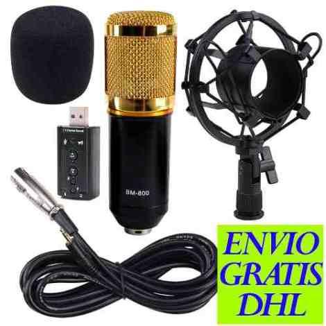 Kit Microfono Condensador Bm800 + Tarjeta Usb Para Pc Laptop