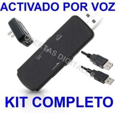 Microfono Espia Usb Grabadora 8gb Se Activa Al Detectar Voz en Web Electro