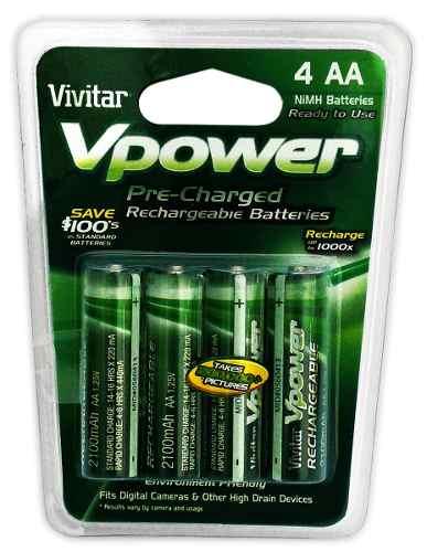 Paquete 4 Baterias Recargables Aa Vivitar Nimh en Web Electro
