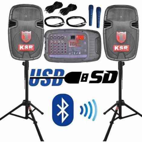 Par De Bafles Bocinas Mezcladora Amplificada Usb Microfono en Web Electro