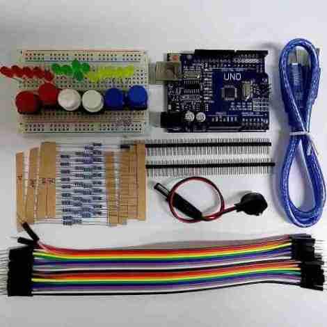 Arduino Uno R3 Kit Básico Con Mini Protoboard Leds Y Otros!