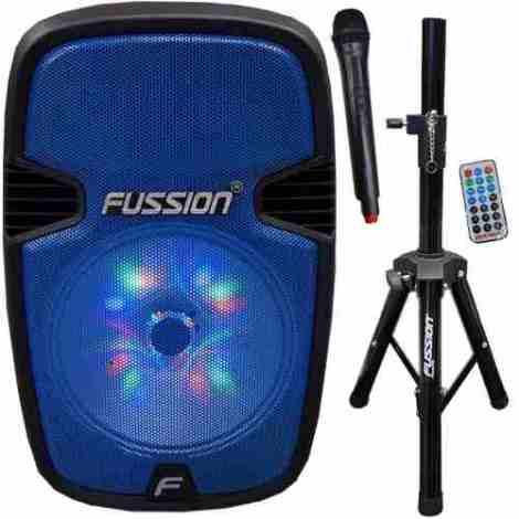 Bafle Bocina Amplificado + Tripie Microfono Usb Fm Bluetooth en Web Electro