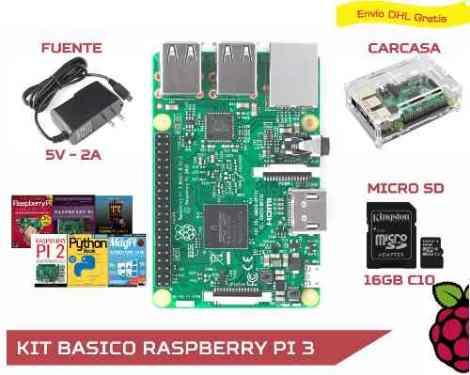 Kit Básico Raspberry Pi 3 + Fuente + Case + Microsd 16gb C10 en Web Electro