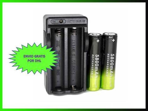 Kit Cargador Doble + 2 Baterias Pilas 18650 De 5800 Mah