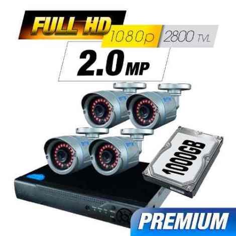 Kit Cctv 4 Cámaras Ahd 2.0 Mp 2800 Tvl Full Hd Dvr Disco Utp en Web Electro