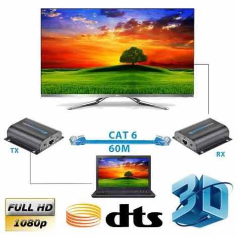 Transmisor Hdmi Por Utp 60 Metros Cat 6 Con Ir Envíoenvio Gr en Web Electro
