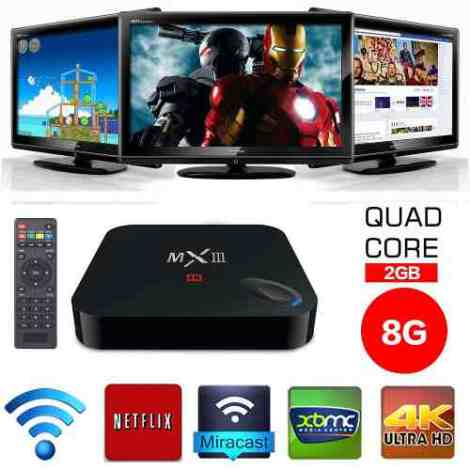Tv Box Android Mx3 Cuad-core 4k Android 4.4 Kodi Xbmc Iptv en Web Electro