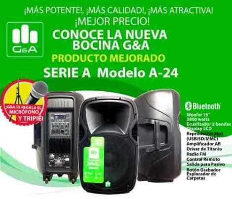 Bafle Activo G&a A-24 Bt Usb Sd+microfono+tripie 350w Rms en Web Electro