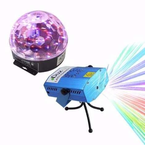 Paquete Luces Leds Audio Rítmicas Efectos Bola Led Y Laser.