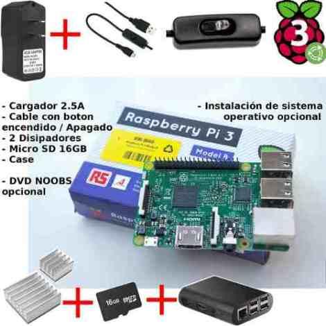 Raspberry Pi 3+ Fuente 2.5a Boton On/off Case+ Disipador+ Sd en Web Electro