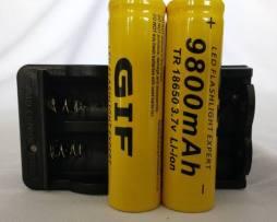 Cargador Doble + 2 Baterias Pilas Gif Mod 18650 De 9800 Mah