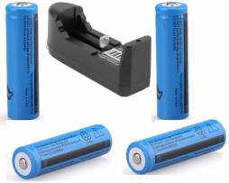 4 Baterias Brc 18650 Recargables 3.7 Volts + Cargador
