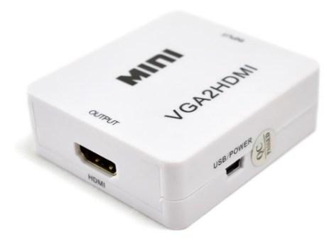 Mini Convetidor De Señal Vga A Hdmi 1280 X 720 Audio 3.5mm