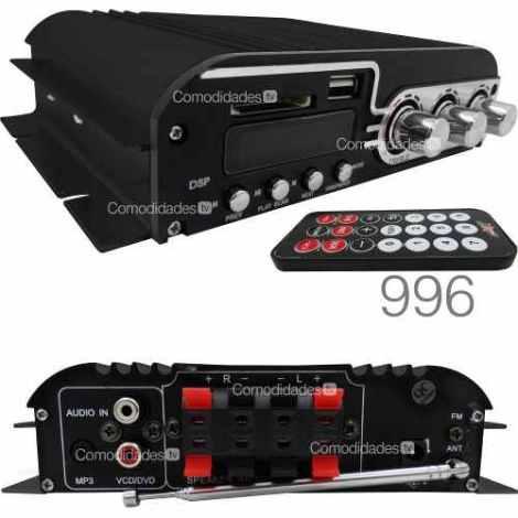 Amplificador 1400w Usb Sd Y Fm/4 Canales Control Remoto 996q