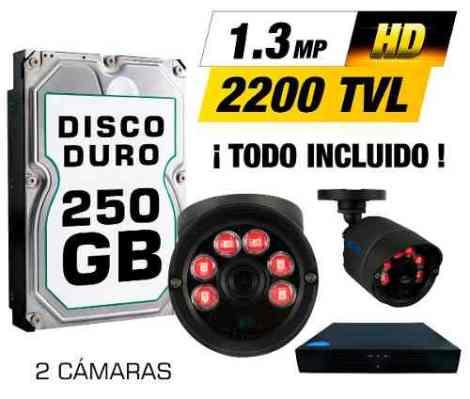 Kit Cctv 2 Cámaras Ahd1.3mp 2200tvl Grabador Cable Utp Hdd.