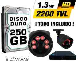 Kit Cctv 2 Cámaras Ahd1.3mp 2200tvl Grabador Cable Utp Hdd.