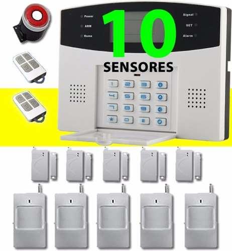Alarma 10 Sensores Inalambrica Gsm Telefonica Casa Negocio