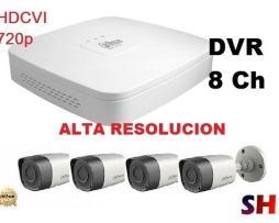 Kit Hd 720p Dvr 8ch Y 4 Camaras Hdcvi Videovigilancia Cctv