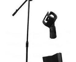 Pedestal Atril Base Stand 2 Microfonos Profesional Con Boom